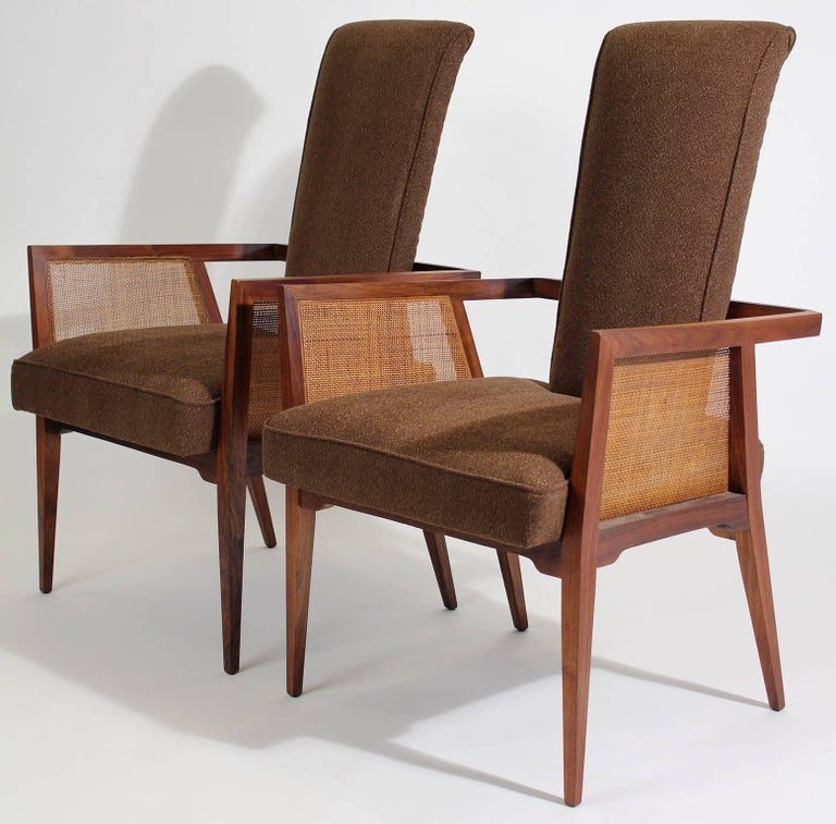 Enjoyable American Modernist Walnut And Cane Tall Back Sitting Desk Accent Armchairs Ibusinesslaw Wood Chair Design Ideas Ibusinesslaworg