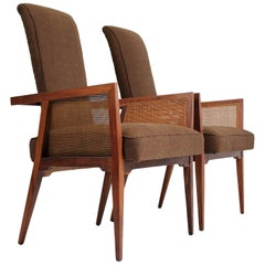American Modernist Walnut and Cane Tall Back Sitting Desk Accent Armchairs