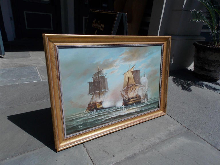 American Classical American Nautical Oil on Canvas Battling Ships at Sea, 20th Century, N. Thomas For Sale