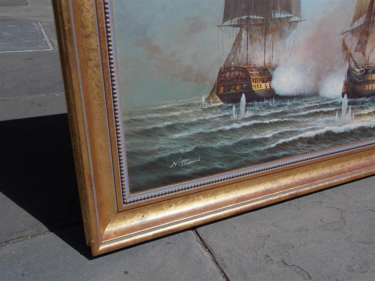 American Nautical Oil on Canvas Battling Ships at Sea, 20th Century, N. Thomas In Excellent Condition For Sale In Charleston, SC