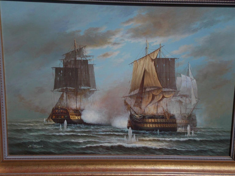 American Nautical Oil on Canvas Battling Ships at Sea, 20th Century, N. Thomas For Sale 2