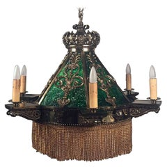 American Neo-Renaissance Gilt Bronze and Green Slag Glass Chandelier
