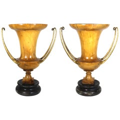 American Art Moderne Carved Fruit-Wood Urns Attr. to Robsjohn-Gibbings