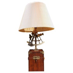 American Oak and Brass Nautical Sexton Table Lamp Mounted on Box, Circa 1880