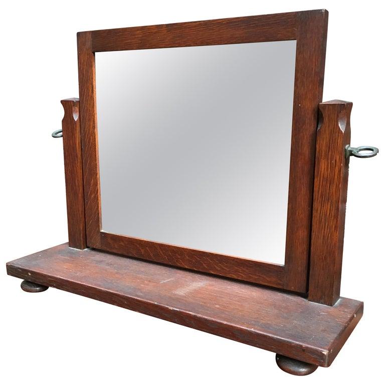 American Oak Arts & Crafts Dresser Mirror For Sale