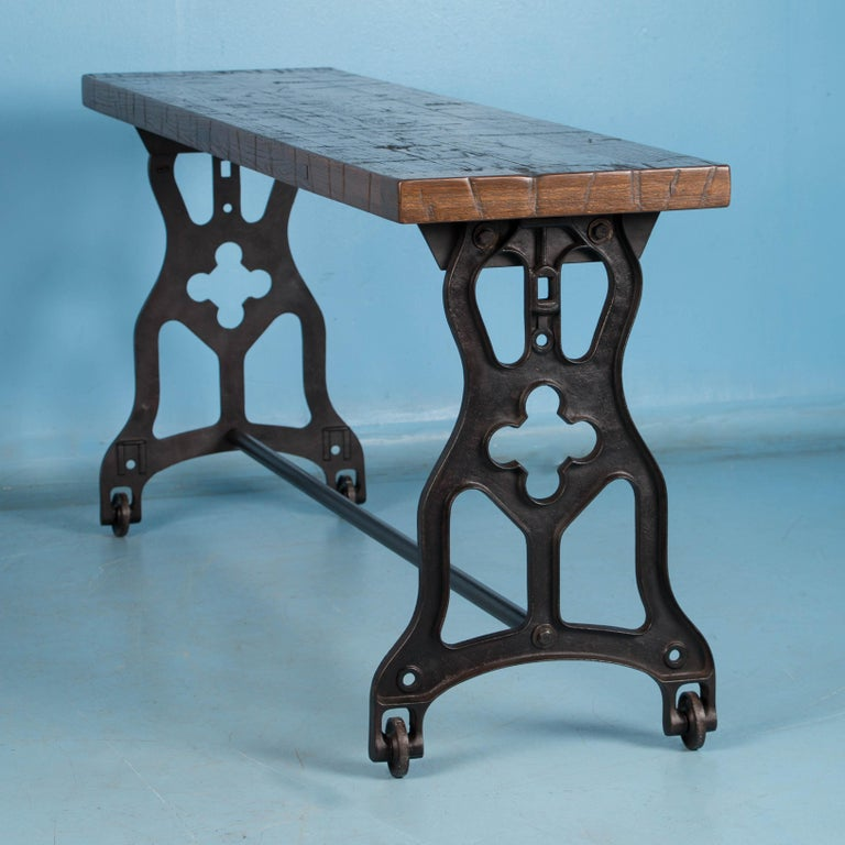 American Oak Console Table with Antique Industrial Cast Iron Legs In Good Condition For Sale In Denver, CO