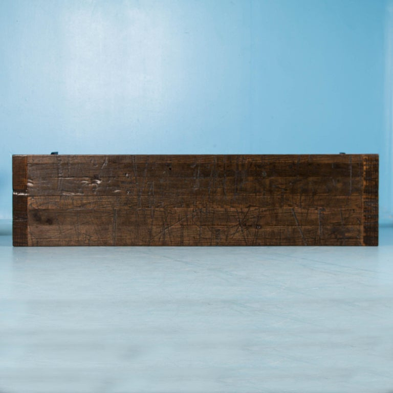 American Oak Console Table with Antique Industrial Cast Iron Legs For Sale 3