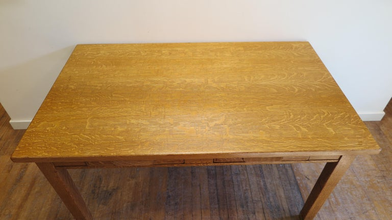 Industrial American Oak Library Desk For Sale