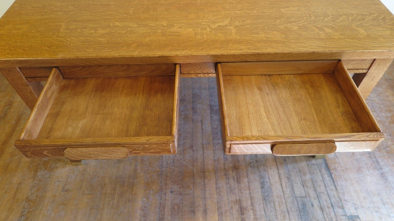 Mid-20th Century American Oak Library Desk For Sale