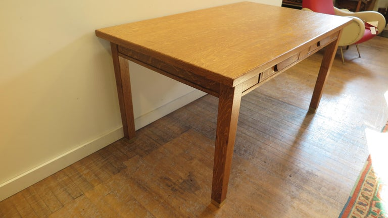 American Oak Library Desk For Sale 4