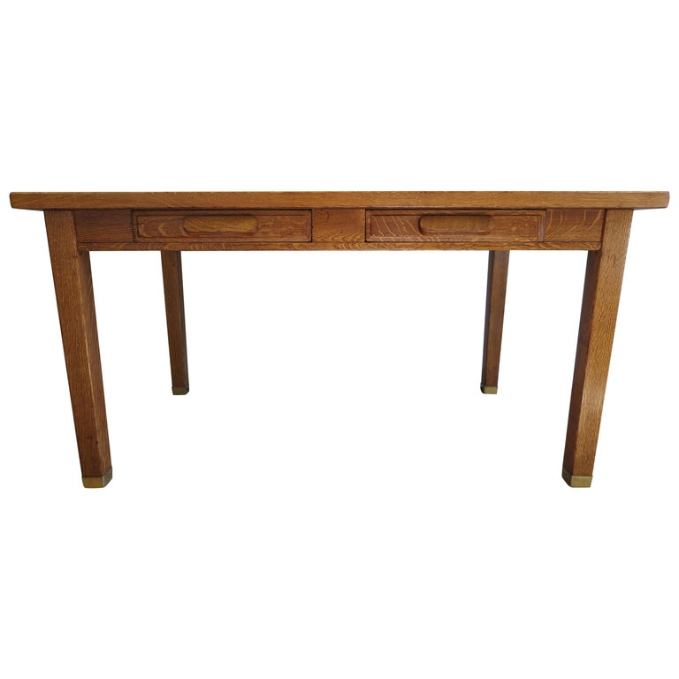 American Oak Library Desk For Sale