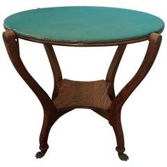 American Oak Round Game Table, Claw Feet, circa 1900
