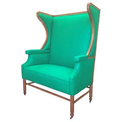 American Oak Wing Back Bergère in Emerald Wool Felt