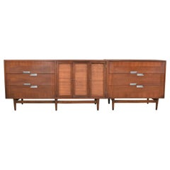 American of Martinsville Accord Walnut & Cane Dresser & Bachelor's Chest w/ X's