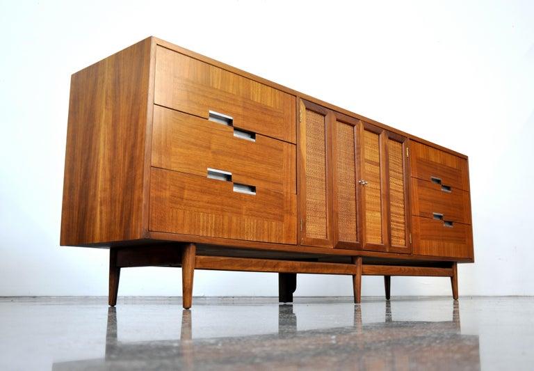 American of Martinsville Accord Walnut Triple Dresser For Sale 5