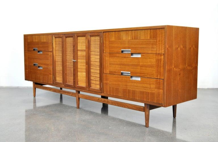 Mid-Century Modern American of Martinsville Accord Walnut Triple Dresser For Sale