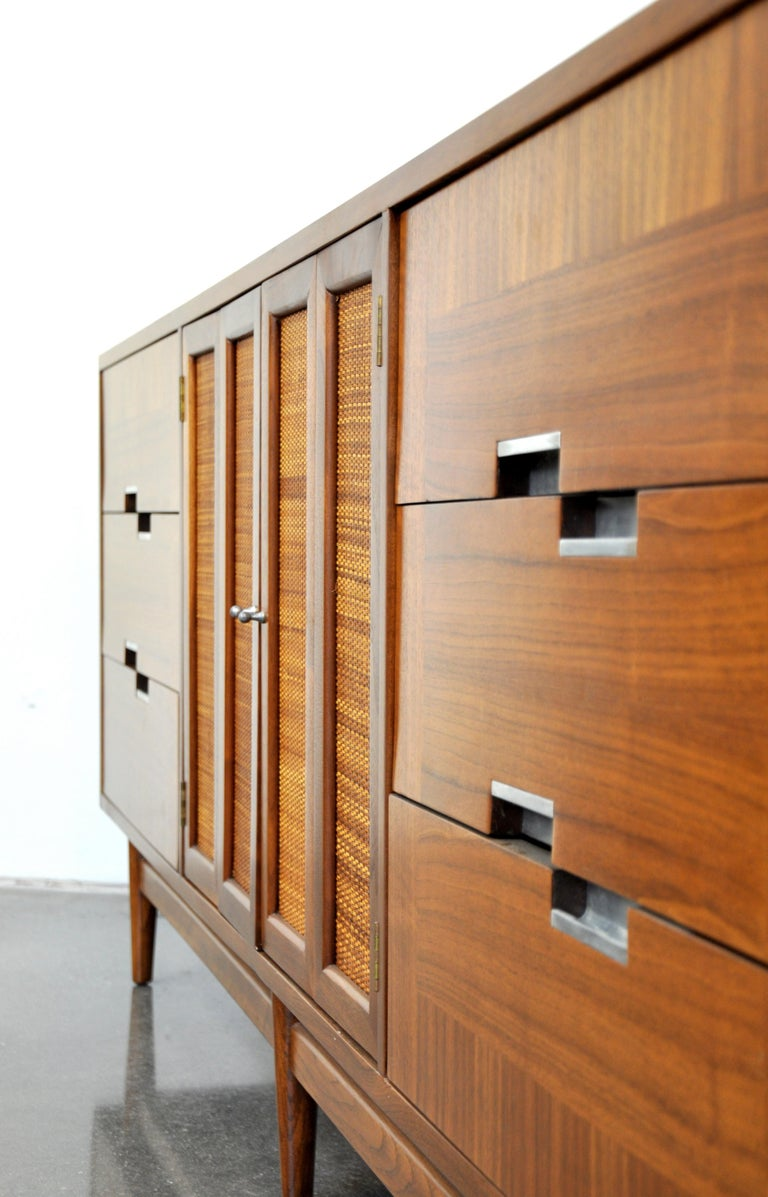 Mid-20th Century American of Martinsville Accord Walnut Triple Dresser For Sale