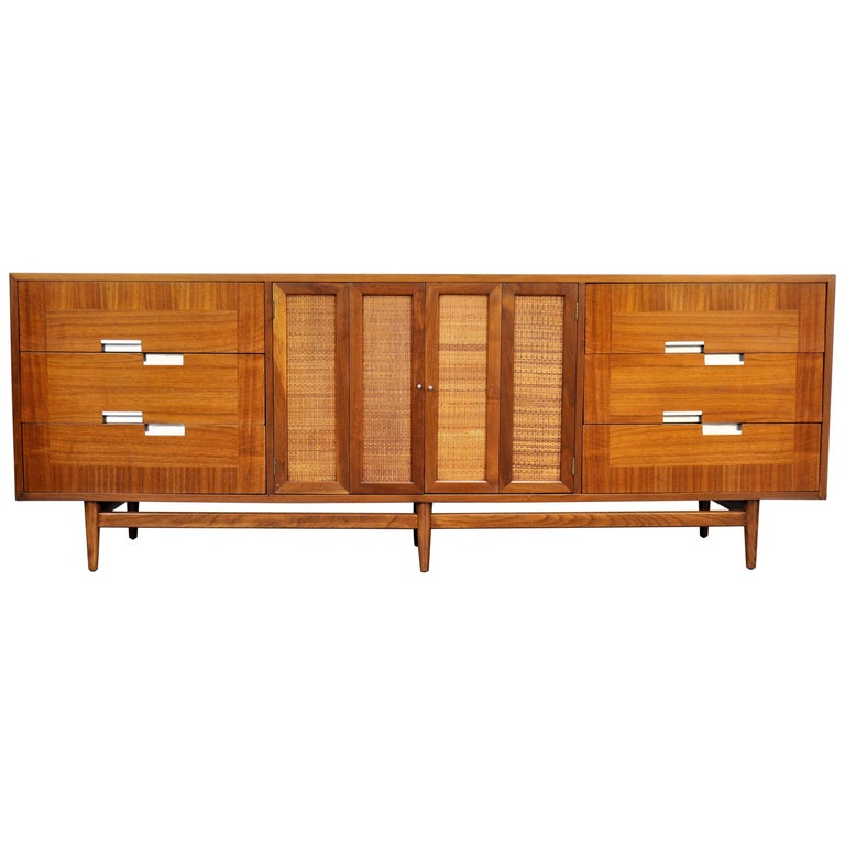 American of Martinsville Accord Walnut Triple Dresser For Sale