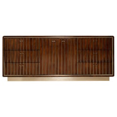 American of Martinsville Brass and Wood Dresser or Credenza