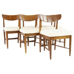 American of Martinsville Dania Mid Century Walnut Dining Chairs, Set of 6