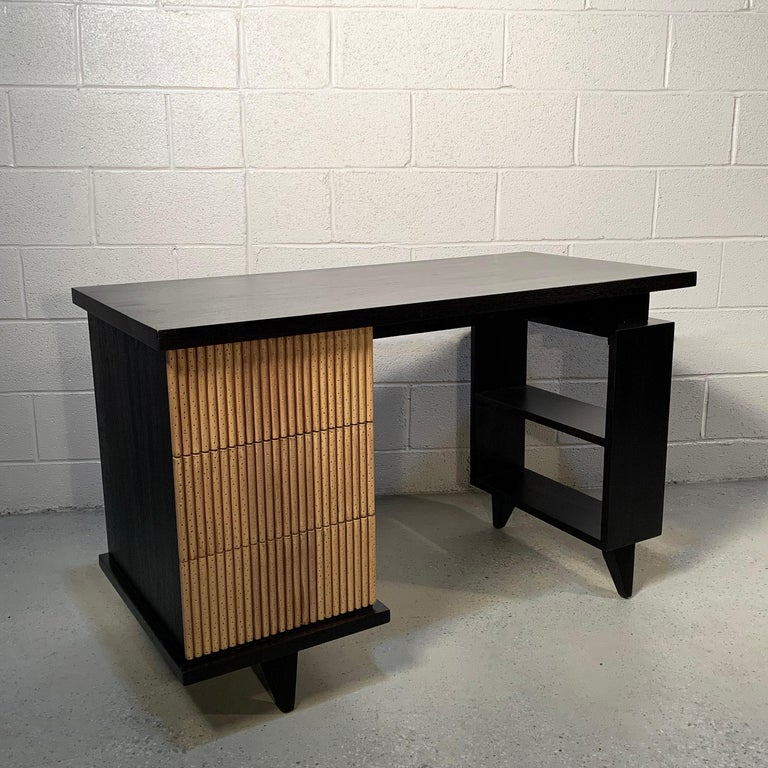 20th Century American of Martinsville Faux Bamboo Mahogany Vanity Desk For Sale