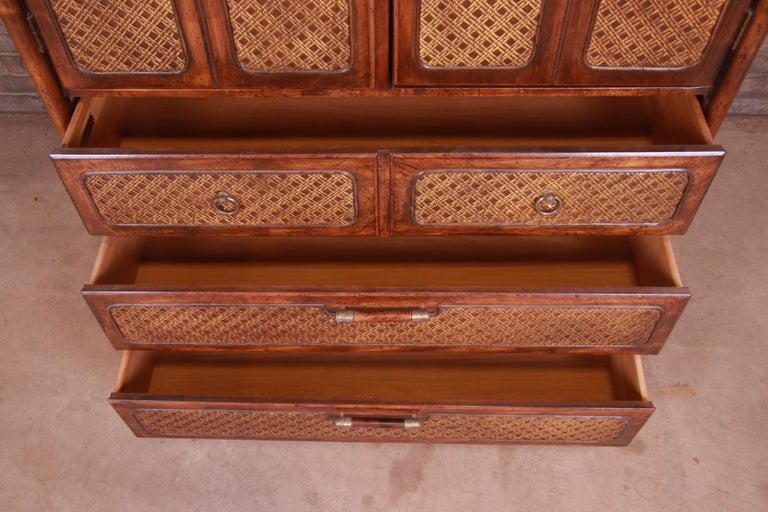 American of Martinsville Hollywood Regency Bamboo Rattan Gentleman's Chest For Sale 4