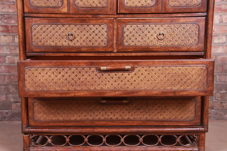 American of Martinsville Hollywood Regency Bamboo Rattan Gentleman's Chest For Sale 6