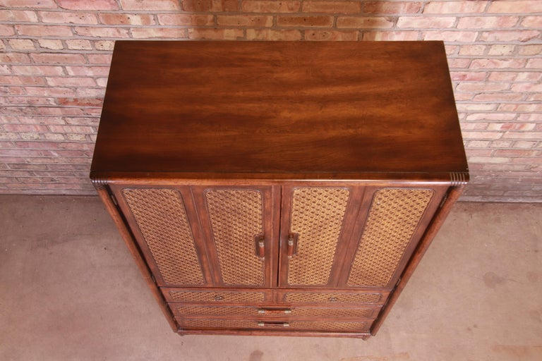 American of Martinsville Hollywood Regency Bamboo Rattan Gentleman's Chest For Sale 8