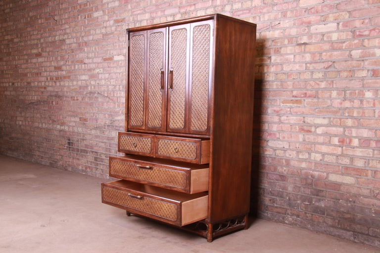 American of Martinsville Hollywood Regency Bamboo Rattan Gentleman's Chest For Sale 3