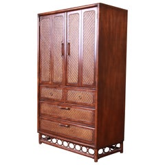 American of Martinsville Hollywood Regency Bamboo Rattan Gentleman's Chest