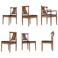 American of Martinsville Light Walnut Dining Chairs Set of 6