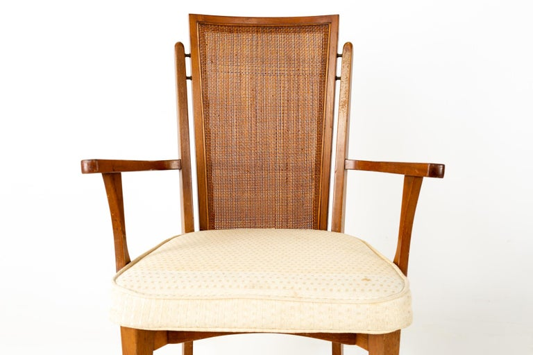 American of Martinsville MCM Walnut and Cane High Back Dining Chairs, Set of 6 For Sale 5