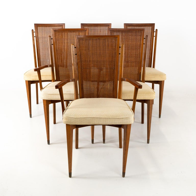 American of Martinsville Mid Century walnut and cane high back dining chairs, set of 6 These chairs are 21 wide x 20 deep x 37 inches high, with a seat height of 19 and arm height of 25.5 inches  All pieces of furniture can be had in what we call