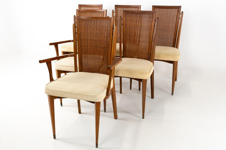 Mid-Century Modern American of Martinsville MCM Walnut and Cane High Back Dining Chairs, Set of 6 For Sale