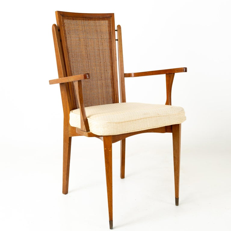 American of Martinsville MCM Walnut and Cane High Back Dining Chairs, Set of 6 In Good Condition For Sale In La Grange, IL