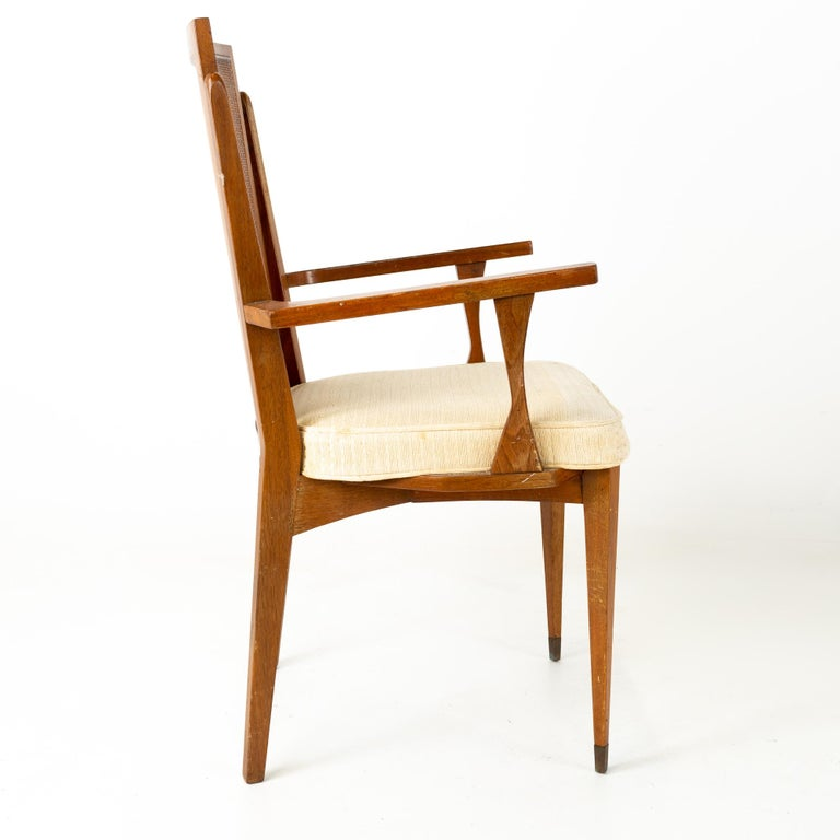 Late 20th Century American of Martinsville MCM Walnut and Cane High Back Dining Chairs, Set of 6 For Sale