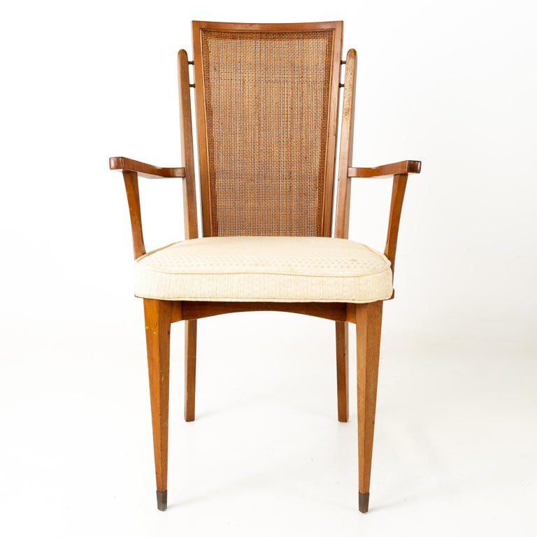 American of Martinsville MCM Walnut and Cane High Back Dining Chairs, Set of 6 For Sale 1