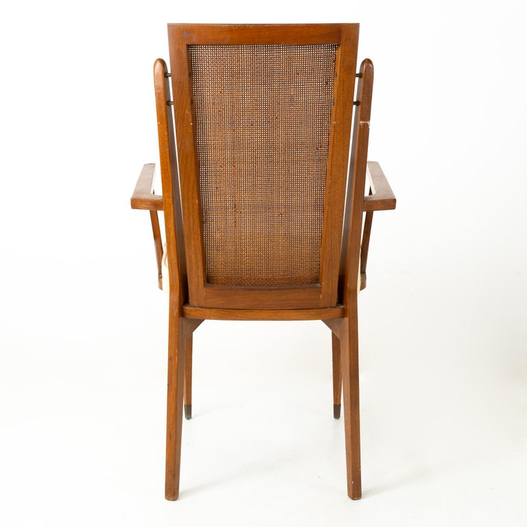 American of Martinsville MCM Walnut and Cane High Back Dining Chairs, Set of 6 For Sale 2