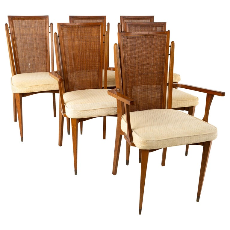 American of Martinsville MCM Walnut and Cane High Back Dining Chairs, Set of 6 For Sale