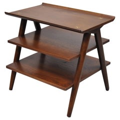 American of Martinsville Merton Gershun 3 Tier A-Frame Walnut Accent Side Table