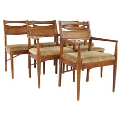 American of Martinsville Mid Century Cane Back Walnut Dining Chairs, Set of 6