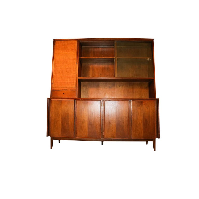Walnut American of Martinsville Midcentury China Cabinet Hutch For Sale
