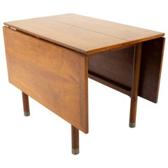 American of Martinsville Mid Century Drop Leaf Dining Table with Metal Accented