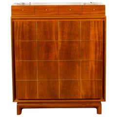 American of Martinsville Mid-Century High Chest with Bras Inlay, circa 1960