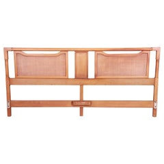 American of Martinsville Mid-Century Modern Walnut and Rattan King Headboard