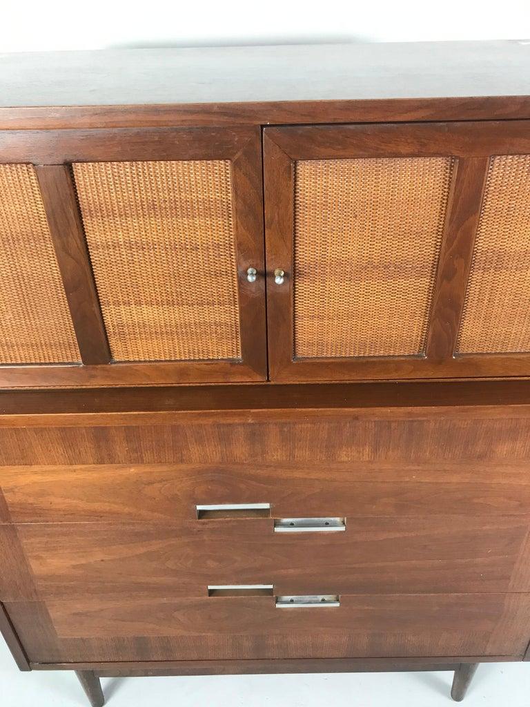 American of Martinsville, Mid-Century Modern Walnut Dresser, Accord Collection 1