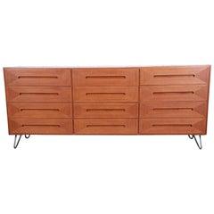 American of Martinsville Midcentury Walnut Twelve-Drawer Dresser or Credenza