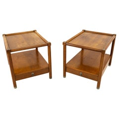 American of Martinsville Midcentury Side Table with Metal Accents, Pair