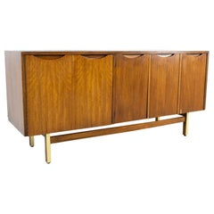 American of Martinsville Mid Century Walnut and Brass Accordion Door Credenza