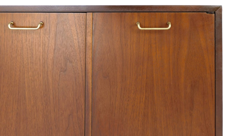 American of Martinsville Walnut and Brass Credenza Cabinet with Louvered Drawers For Sale 1